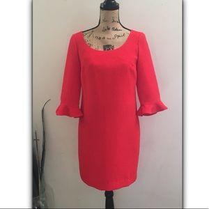 Ann Taylor ruffle sleeve textured ladylike dress